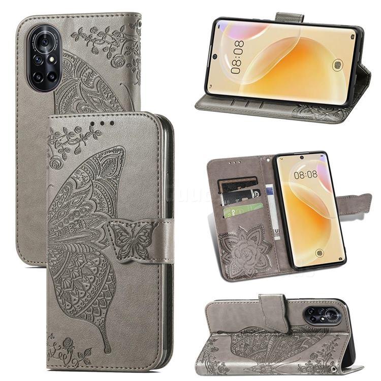 Embossing Mandala Flower Butterfly Leather Wallet Case for Huawei nova 8 - Gray