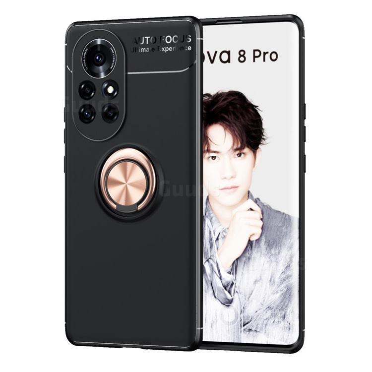Auto Focus Invisible Ring Holder Soft Phone Case for Huawei nova 8 Pro - Black Gold