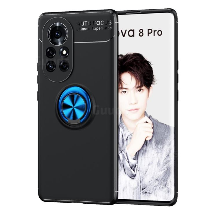 Auto Focus Invisible Ring Holder Soft Phone Case for Huawei nova 8 Pro - Black Blue