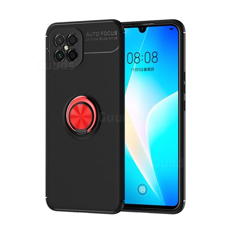 Auto Focus Invisible Ring Holder Soft Phone Case for Huawei nova 8 SE - Black Red