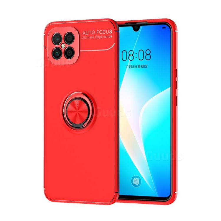 Auto Focus Invisible Ring Holder Soft Phone Case for Huawei nova 8 SE - Red