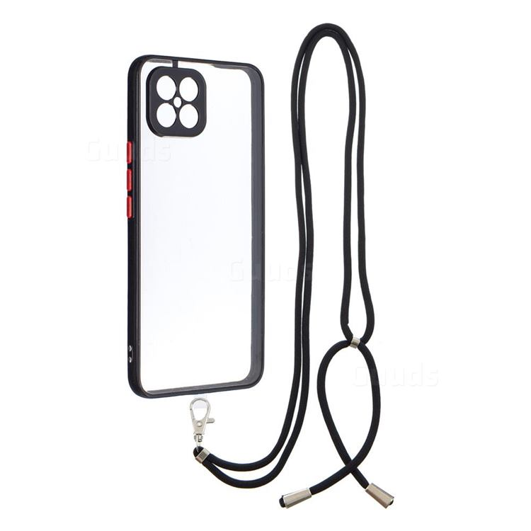 Necklace Cross-body Lanyard Strap Cord Phone Case Cover for Huawei nova 8 SE - Black