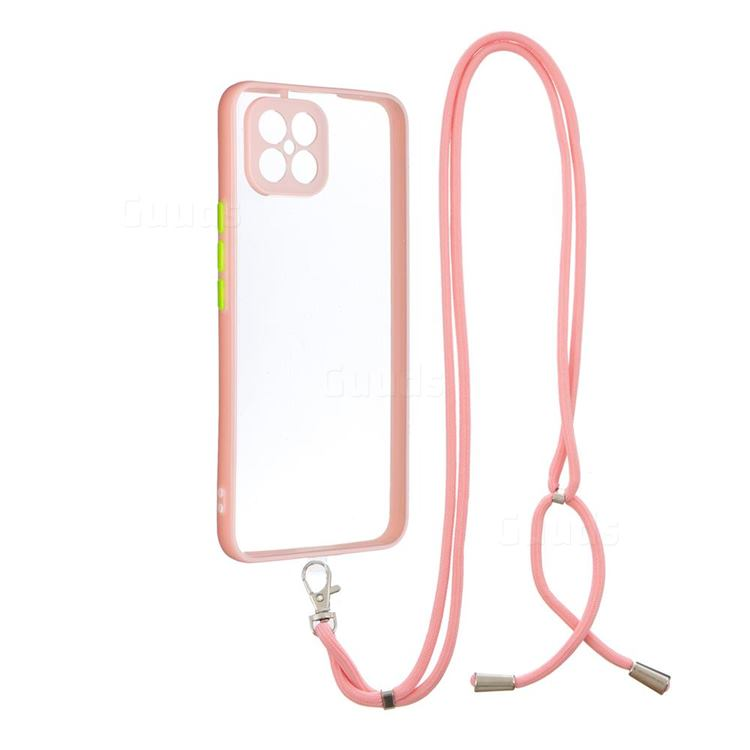 Necklace Cross-body Lanyard Strap Cord Phone Case Cover for Huawei nova 8 SE - Pink