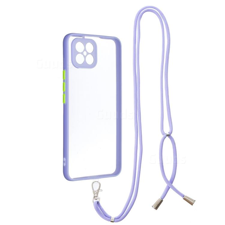 Necklace Cross-body Lanyard Strap Cord Phone Case Cover for Huawei nova 8 SE - Purple