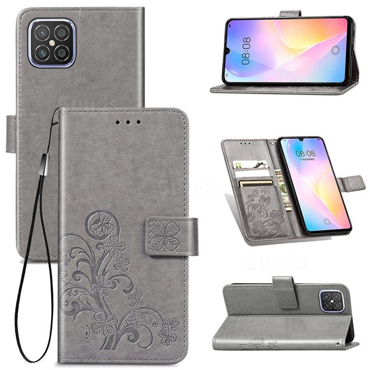 Embossing Imprint Four-Leaf Clover Leather Wallet Case for Huawei nova 8 SE - Grey