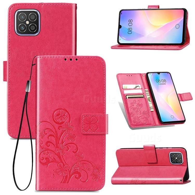 Embossing Imprint Four-Leaf Clover Leather Wallet Case for Huawei nova 8 SE - Rose Red