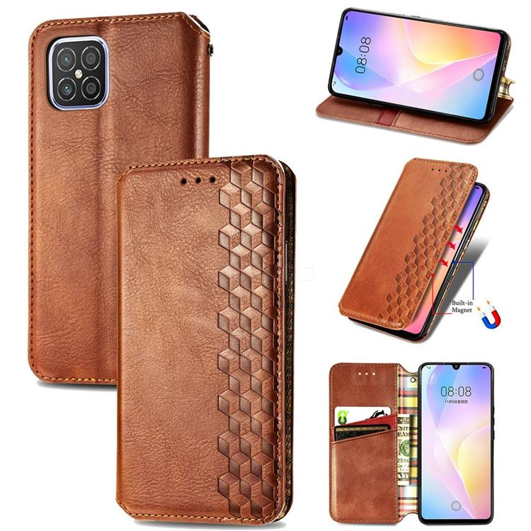 Ultra Slim Fashion Business Card Magnetic Automatic Suction Leather Flip Cover for Huawei nova 8 SE - Brown