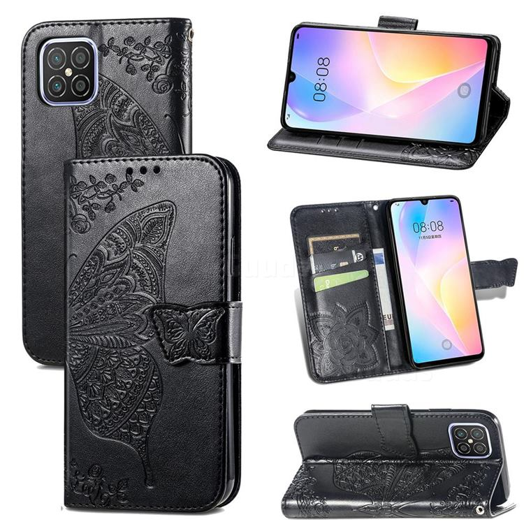 Embossing Mandala Flower Butterfly Leather Wallet Case for Huawei nova 8 SE - Black