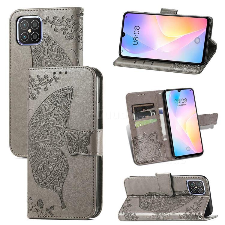 Embossing Mandala Flower Butterfly Leather Wallet Case for Huawei nova 8 SE - Gray