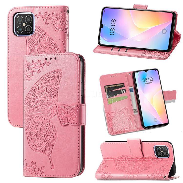 Embossing Mandala Flower Butterfly Leather Wallet Case for Huawei nova 8 SE - Pink
