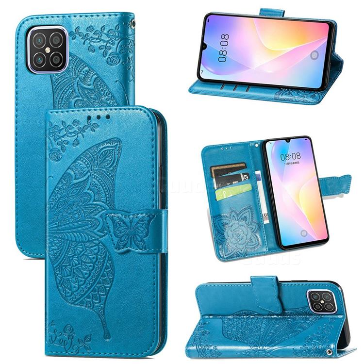 Embossing Mandala Flower Butterfly Leather Wallet Case for Huawei nova 8 SE - Blue