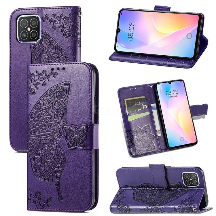 Embossing Mandala Flower Butterfly Leather Wallet Case for Huawei nova 8 SE - Dark Purple