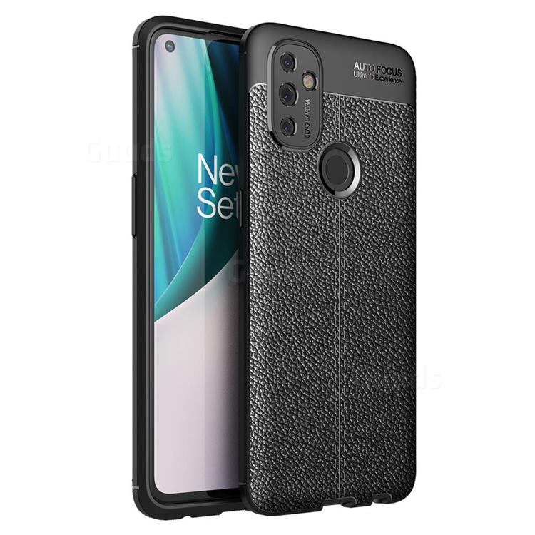Luxury Auto Focus Litchi Texture Silicone TPU Back Cover for OnePlus Nord N100 - Black