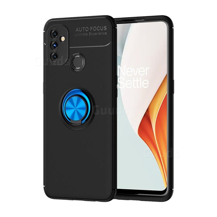 Auto Focus Invisible Ring Holder Soft Phone Case for OnePlus Nord N100 - Black Blue