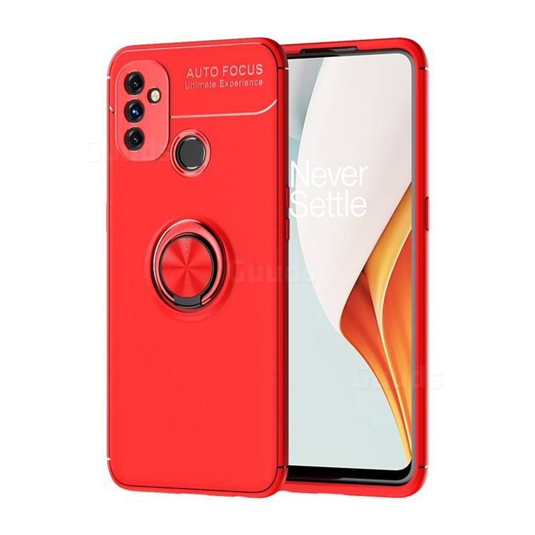 Auto Focus Invisible Ring Holder Soft Phone Case for OnePlus Nord N100 - Red
