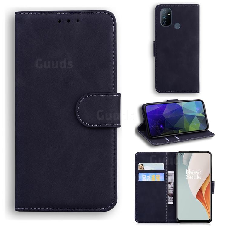 Retro Classic Skin Feel Leather Wallet Phone Case for OnePlus Nord N100 - Black