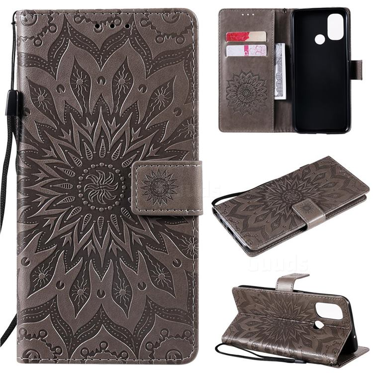 Embossing Sunflower Leather Wallet Case for OnePlus Nord N100 - Gray