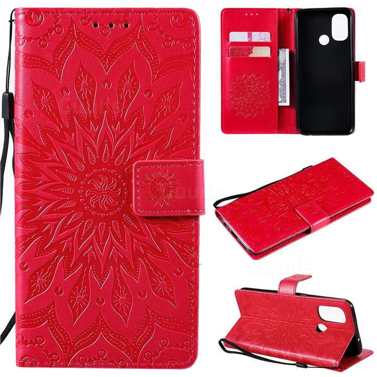 Embossing Sunflower Leather Wallet Case for OnePlus Nord N100 - Red