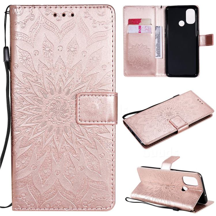 Embossing Sunflower Leather Wallet Case for OnePlus Nord N100 - Rose Gold