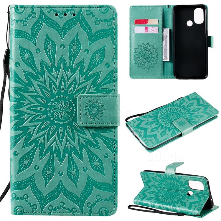 Embossing Sunflower Leather Wallet Case for OnePlus Nord N100 - Green