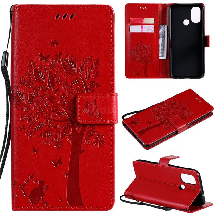 Embossing Butterfly Tree Leather Wallet Case for OnePlus Nord N100 - Red