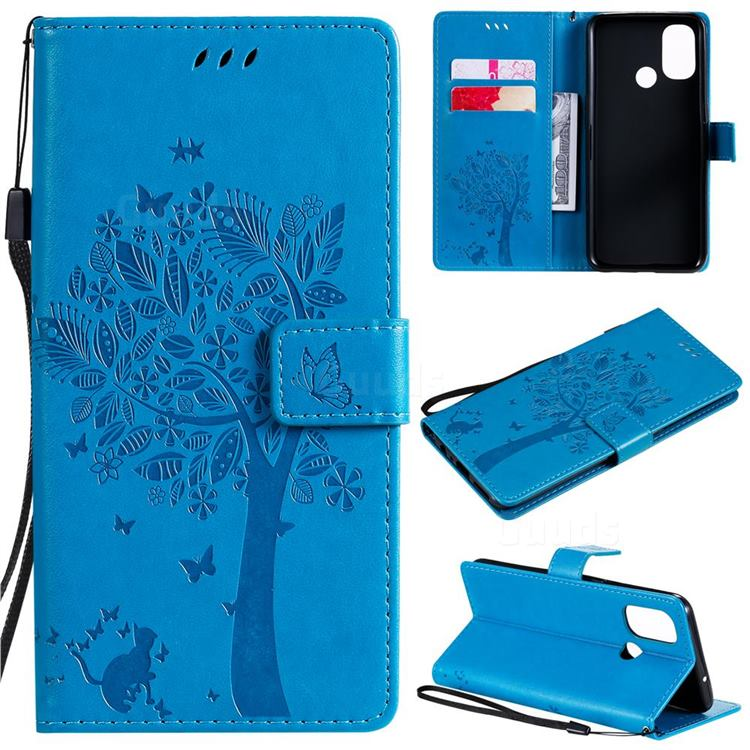 Embossing Butterfly Tree Leather Wallet Case for OnePlus Nord N100 - Blue