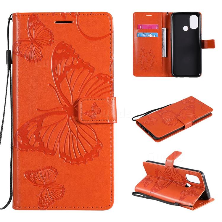 Embossing 3D Butterfly Leather Wallet Case for OnePlus Nord N100 - Orange