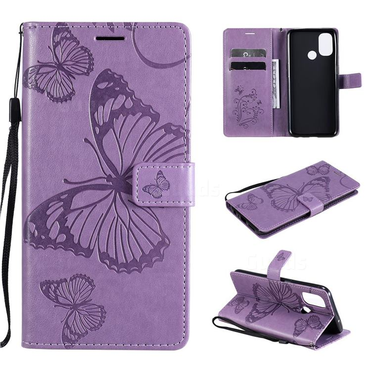 Embossing 3D Butterfly Leather Wallet Case for OnePlus Nord N100 - Purple