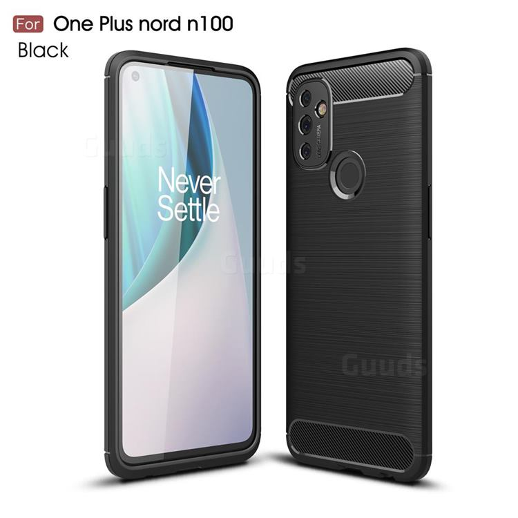 Luxury Carbon Fiber Brushed Wire Drawing Silicone TPU Back Cover for OnePlus Nord N100 - Black