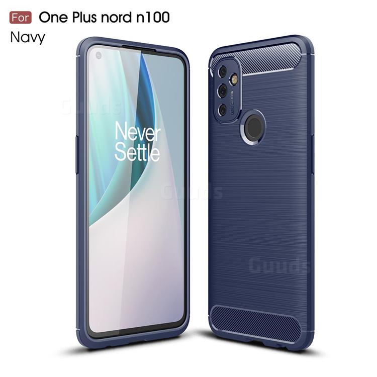 Luxury Carbon Fiber Brushed Wire Drawing Silicone TPU Back Cover for OnePlus Nord N100 - Navy