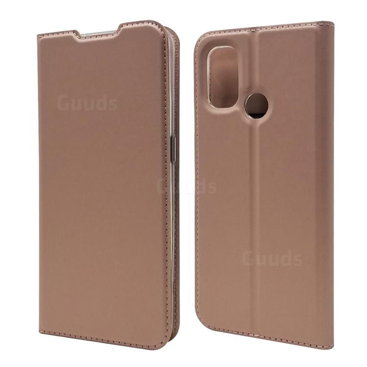 Ultra Slim Card Magnetic Automatic Suction Leather Wallet Case for OnePlus Nord N100 - Rose Gold