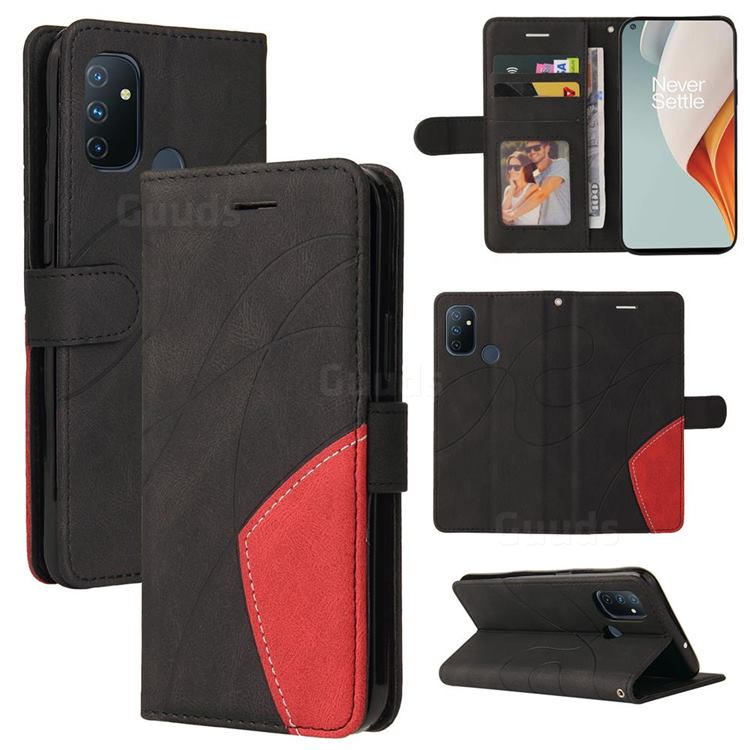 Luxury Two-color Stitching Leather Wallet Case Cover for OnePlus Nord N100 - Black