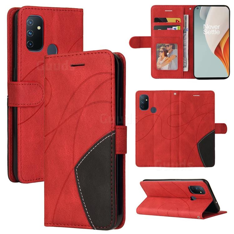 Luxury Two-color Stitching Leather Wallet Case Cover for OnePlus Nord N100 - Red