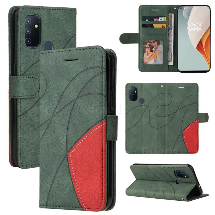 Luxury Two-color Stitching Leather Wallet Case Cover for OnePlus Nord N100 - Green