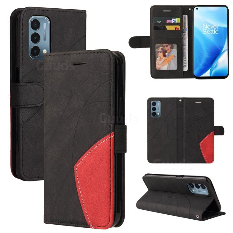 Luxury Two-color Stitching Leather Wallet Case Cover for OnePlus Nord N200 5G - Black