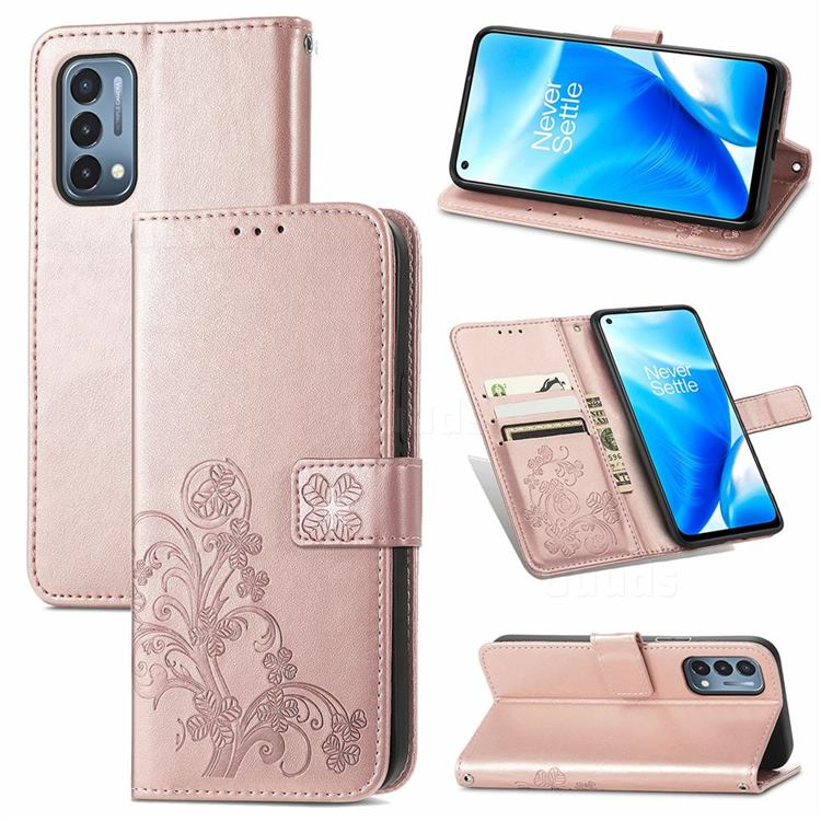 Embossing Imprint Four-Leaf Clover Leather Wallet Case for OnePlus Nord N200 5G - Rose Gold