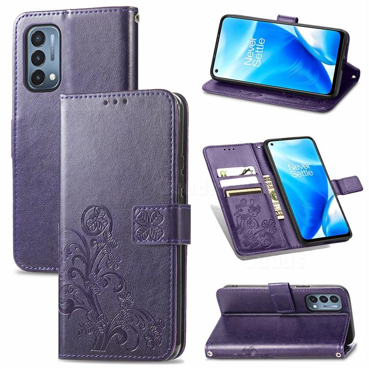 Embossing Imprint Four-Leaf Clover Leather Wallet Case for OnePlus Nord N200 5G - Purple