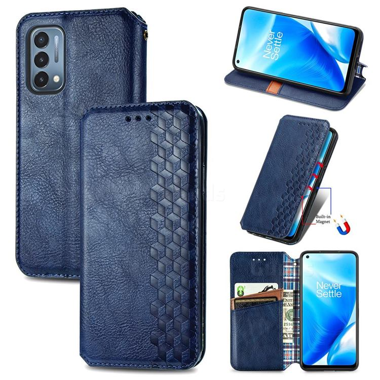 Ultra Slim Fashion Business Card Magnetic Automatic Suction Leather Flip Cover for OnePlus Nord N200 5G - Dark Blue