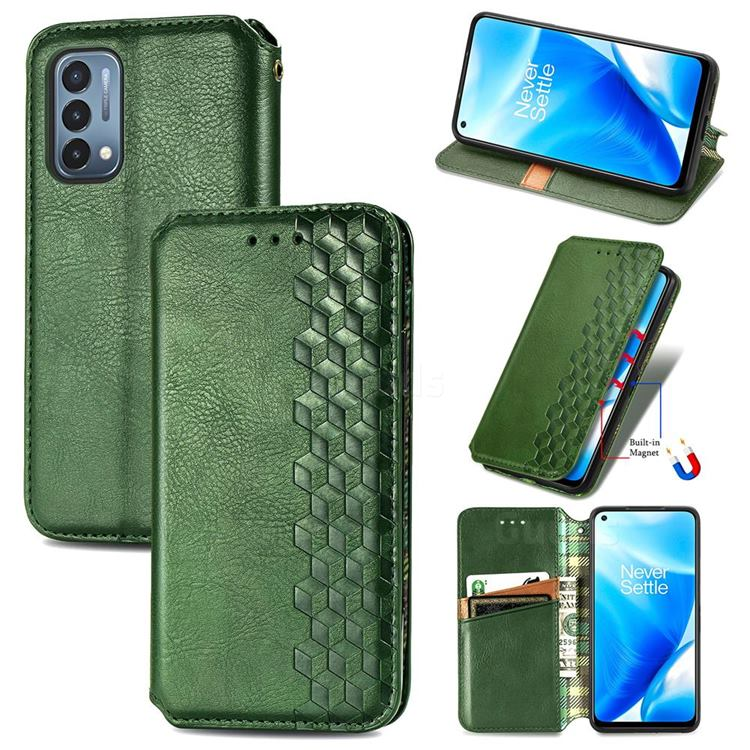 Ultra Slim Fashion Business Card Magnetic Automatic Suction Leather Flip Cover for OnePlus Nord N200 5G - Green