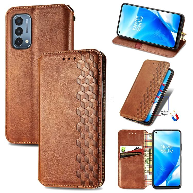 Ultra Slim Fashion Business Card Magnetic Automatic Suction Leather Flip Cover for OnePlus Nord N200 5G - Brown
