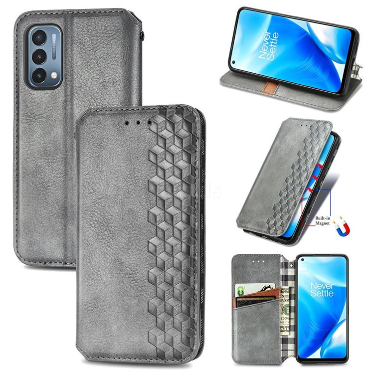 Ultra Slim Fashion Business Card Magnetic Automatic Suction Leather Flip Cover for OnePlus Nord N200 5G - Grey