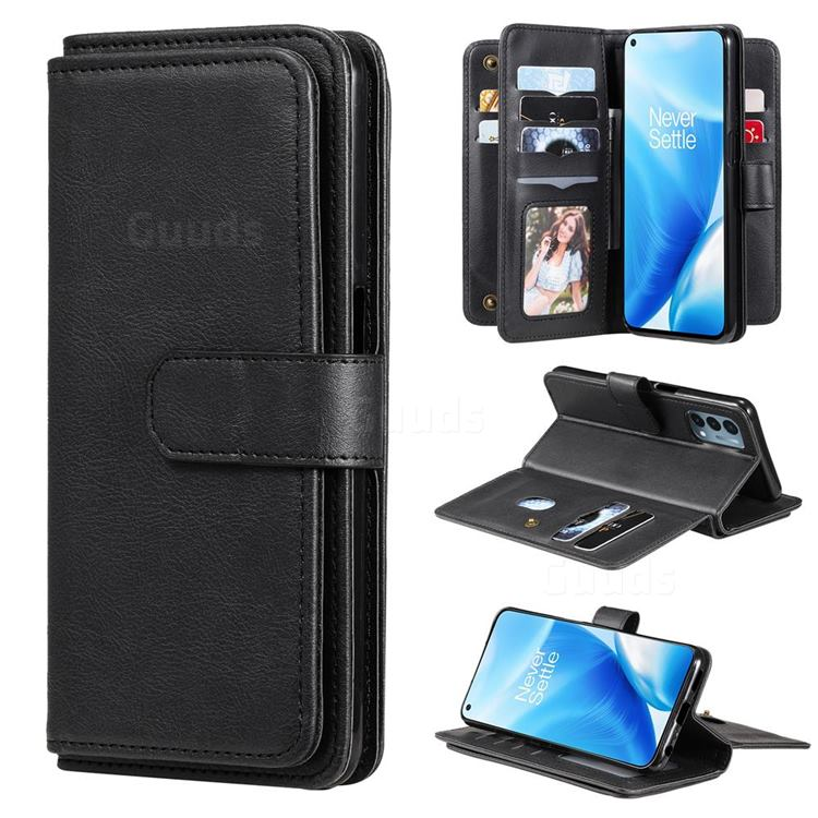 Multi-function Ten Card Slots and Photo Frame PU Leather Wallet Phone Case Cover for OnePlus Nord N200 5G - Black