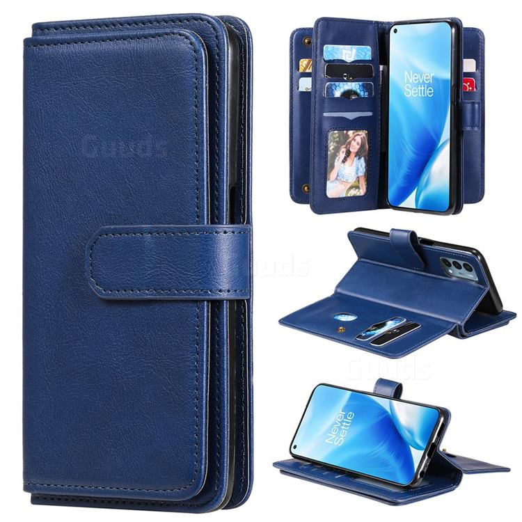 Multi-function Ten Card Slots and Photo Frame PU Leather Wallet Phone Case Cover for OnePlus Nord N200 5G - Dark Blue