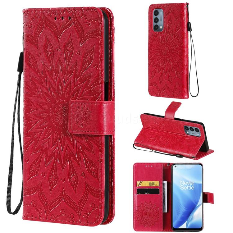 Embossing Sunflower Leather Wallet Case for OnePlus Nord N200 5G - Red