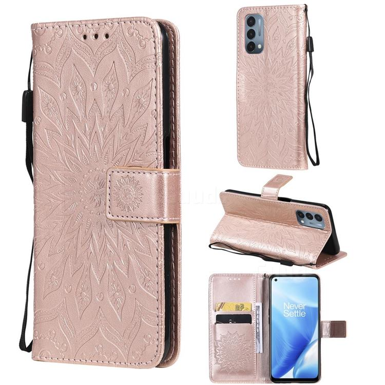 Embossing Sunflower Leather Wallet Case for OnePlus Nord N200 5G - Rose Gold