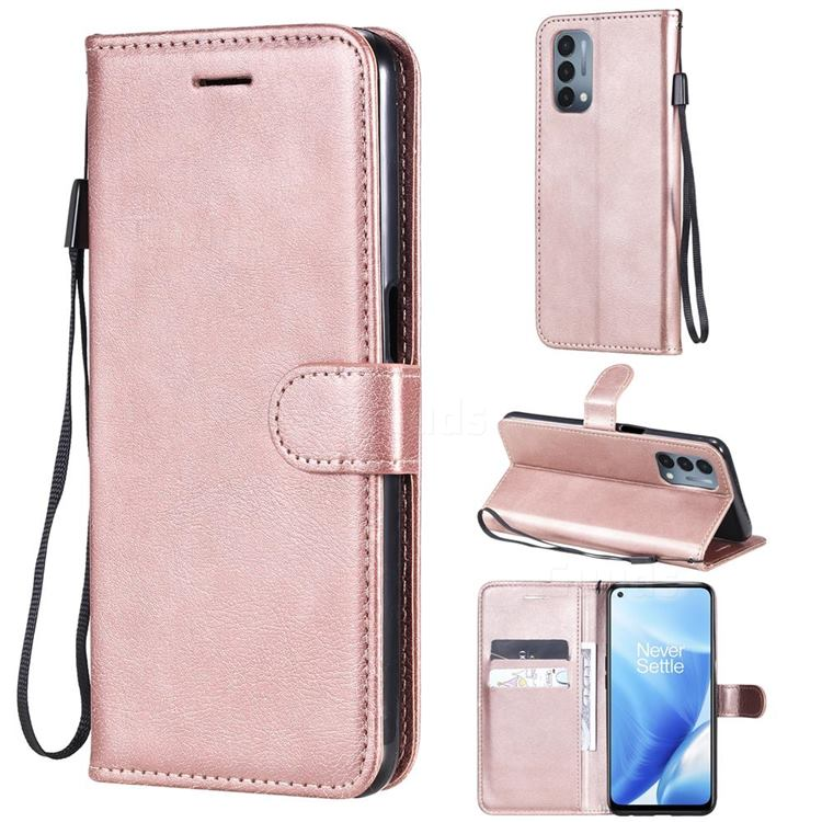 Retro Greek Classic Smooth PU Leather Wallet Phone Case for OnePlus Nord N200 5G - Rose Gold