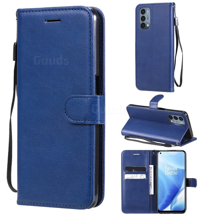 Retro Greek Classic Smooth PU Leather Wallet Phone Case for OnePlus Nord N200 5G - Blue