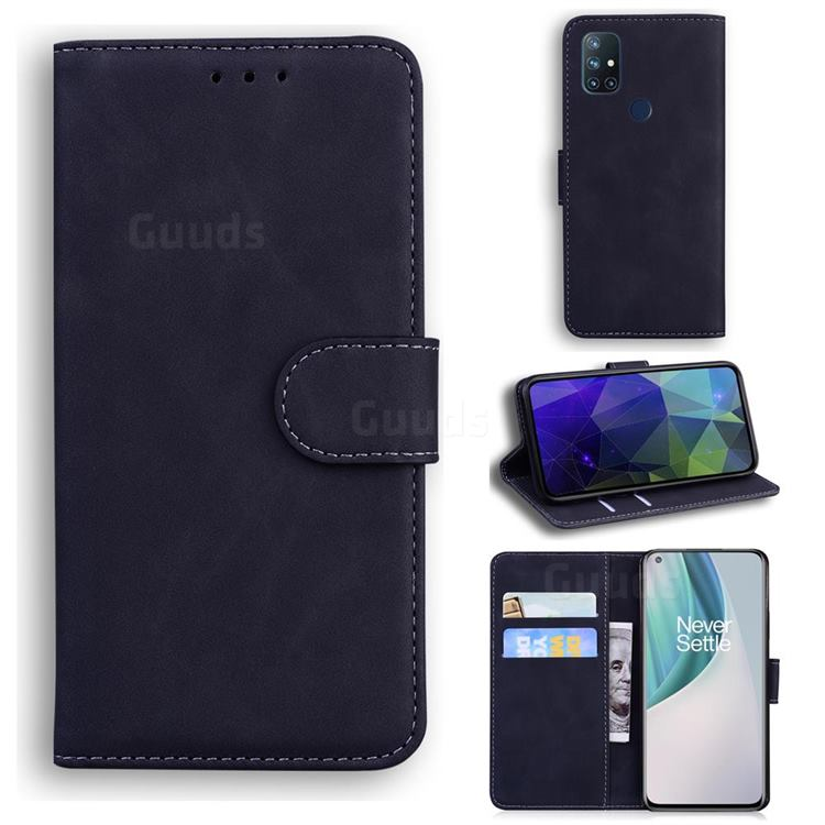 Retro Classic Skin Feel Leather Wallet Phone Case for OnePlus Nord N10 5G - Black