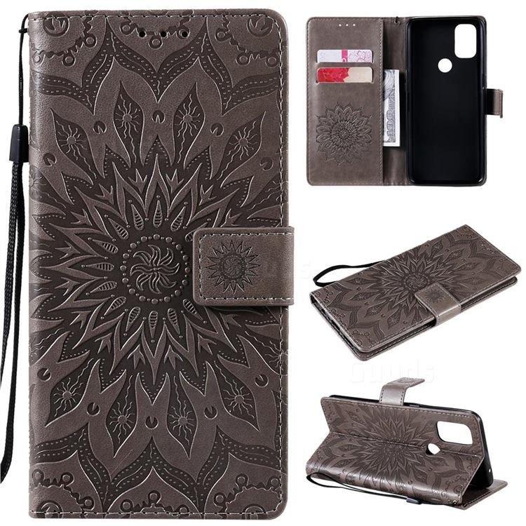 Embossing Sunflower Leather Wallet Case for OnePlus Nord N10 5G - Gray