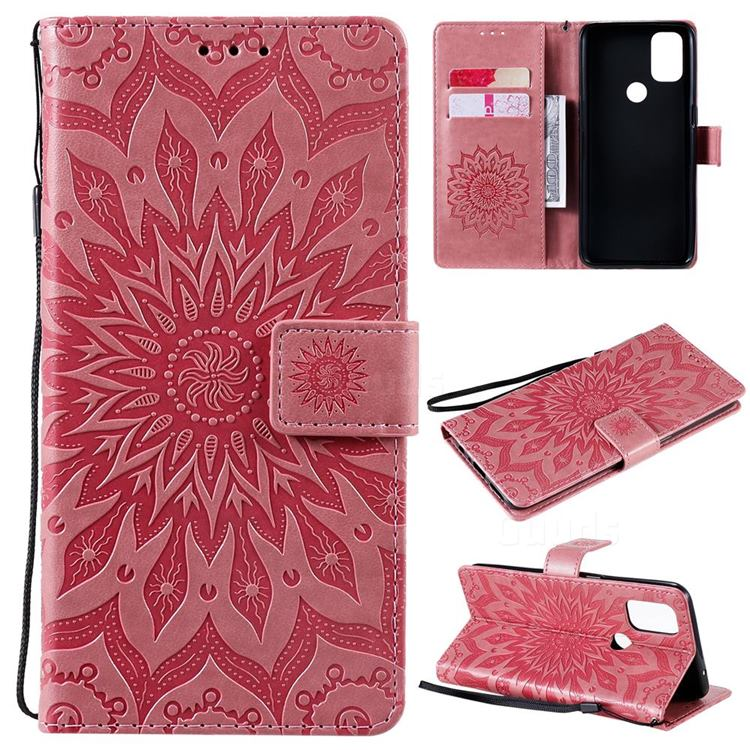 Embossing Sunflower Leather Wallet Case for OnePlus Nord N10 5G - Pink